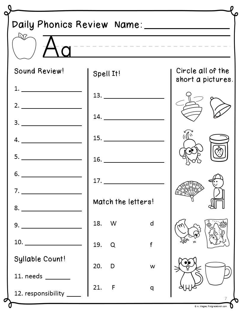 Workbooks responsibility worksheets for middle school : Phonics Worksheets For First Grade Free Worksheets Library ...